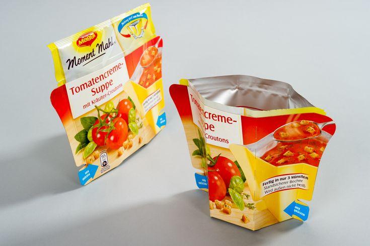 Composants : - Le contenant est un sachet de 250ml pour une personne dans lequel on peut directement manger. - Le décor : des photos des légumes présents dans la soupe pour montrer l'authenticité et le choix de bons produits, ainsi qu'une photo du produit ouvert et prêt à être consommer. En haut du sachet se trouve la marque reconnaissable par ses couleurs jaune et rouge, et une image explicative du fonctionnement du produit qui montre la simplicité et l'innovation que représente ce sachet.