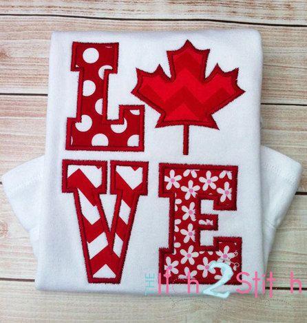 Canada Love Applique Design For Machine Embroidery INSTANT