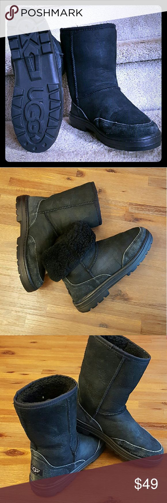 UGG ultra short 5225 black sz W7 Very popular discontinued #5225 sheepskin water resistant UGGS with normal wear in black. Insoles matted and will need replacement they are $8-15 online or in UGGS store. These are great boots and durable if you know your UGGS. Reasonable offers considered. UGG Shoes Winter & Rain Boots
