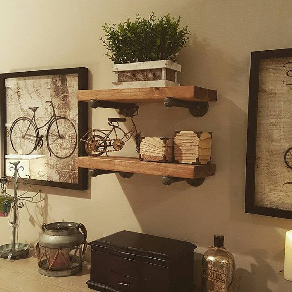 Set of 2  6 Deep Industrial Floating Shelves Farmhouse Shelves Rustic Wood and Pipe Shelf