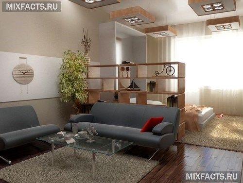 интерьер спальни-гостиной .комнаты