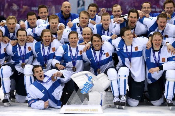 Bronze medalists Finland celebrate after defeating the United States 5-0 during the Men's Ice Hockey Bronze Medal Game (c) Getty Images
