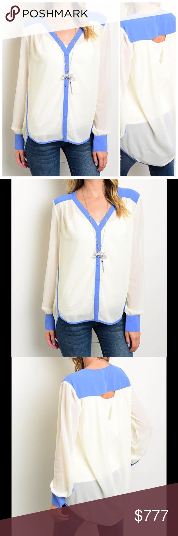 COMING SOON Sky Blue Cream Long sleeve top features a relaxed fit and a contrast colored trim. 100% polyester. NWOT from wholesaler. Check out my other items for a bundle discount. PRICE FIRM UNLESS BUNDLED!! Tops Blouses