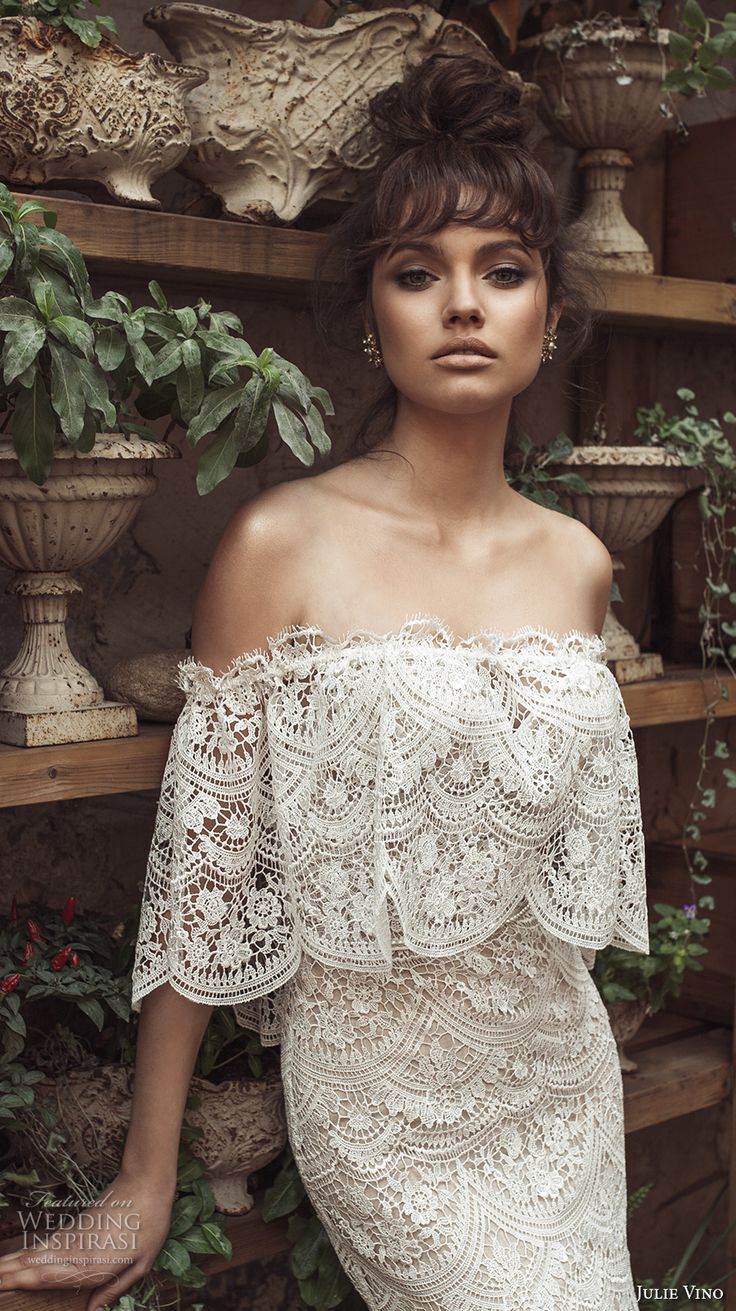 Julie Vino 2017 bridal off the shoulder straight across cape full embellishment romantic bohemian fit and flare wedding dress sweep train (1254) zv -- Romanzo by Julie Vino 2017 Wedding Dresses #wedding #bridal #weddingdress