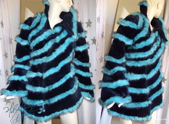 veste hiver spirale turquoise asymétrique & bleu-nuit