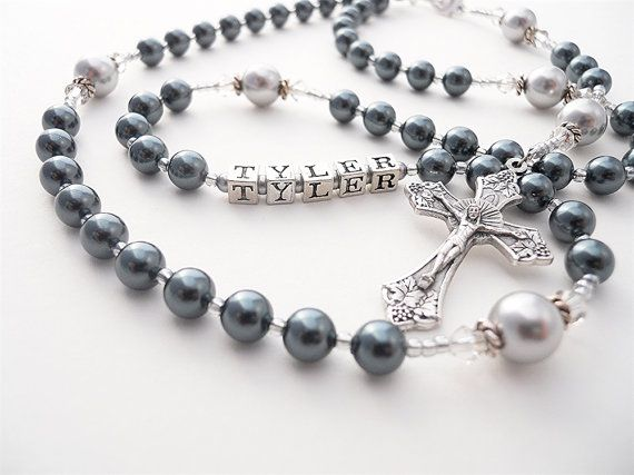 Personalize Baptism or First Communion Rosary for a Boy - Midnight Blue and Silver Gray Swarovski Crystals