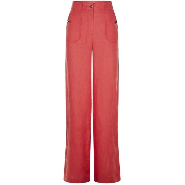 Escada Sport Straight Linen Trousers (1,240 MYR) ❤ liked on Polyvore featuring pants, escada sport pants, escada sport, red linen pants, linen trousers and red trousers