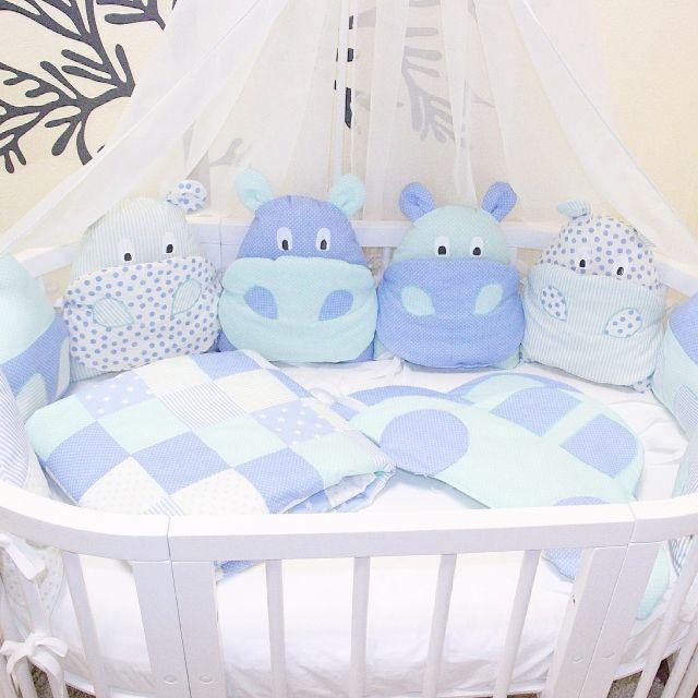 Комплект с бегемотиками в мятно -голубой гамме - Happy Family