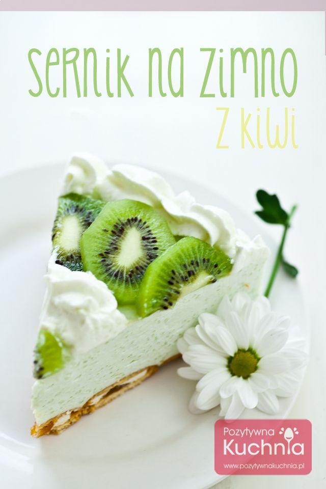 #przepis na sernik na zimno z kiwi - w wersji dietetycznej, odchudzony, pyszne ciasto bez pieczenia.  http://pozytywnakuchnia.pl/sernik-na-zimno-z-kiwi/  #ciasto #sernik #kuchnia #kiwi