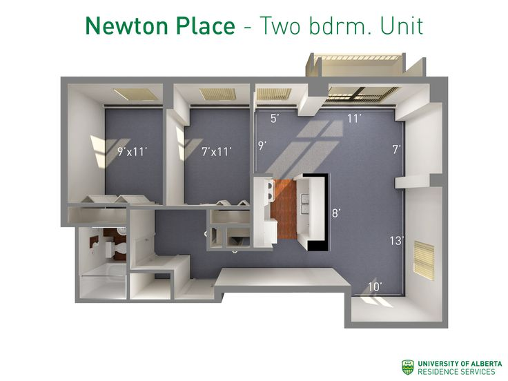 Floorplan with dimensions for two-bedroom units in Newton Place.