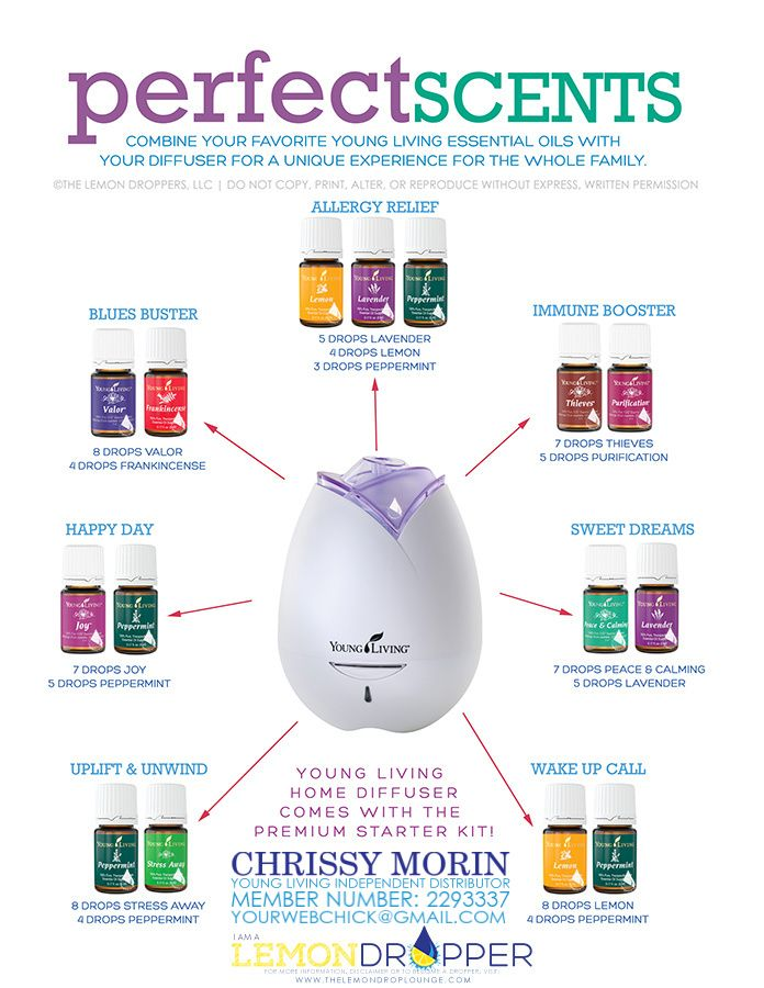 Perfect Scents... Essential Oil combinations for your diffuser http://www.clumsygourmet.com/get-young-living-essential-oils-wholesale-prices/