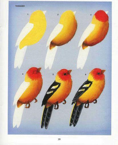 Como fazer uma pintura de pássaro...