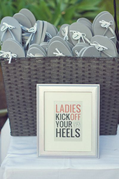 Keep your guests comfortable by providing them with flip flops so they can kick off their heels