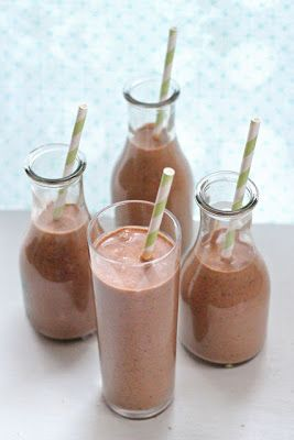 Dark chocolate, peanut butter and banana smoothie: 3 cups of almond milk, 2-3 frozen bananas, 1 tablespoon unsweetened dark cocoa powder, 1/4 cup dark chocolate chips, 1/4 cup flax seed meal, 2-3  tablespoons peanut butter.