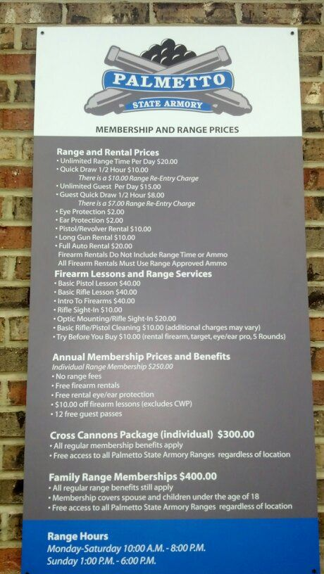 this range prices sign can be found at the entrance to our shooting range