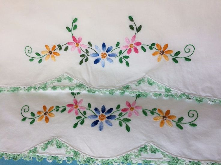 Hand Embroidered Pillowcases w/ Crochet Edging*Set of 2 Multi Color Floral & 295 best Bor. Cojines images on Pinterest | Cushions Embroidered ... pillowsntoast.com