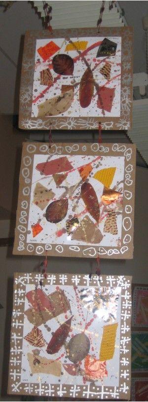 Fabienne a proposé à ses élèves de PS de faire des décorations de Noël. Ce sont des décorations à suspendre, sous forme de tryptique. Les élèves ont chacun réalisé un tableau de collages (papiers, feuilles, le tout dans des couleurs chaudes) et réhaussé...