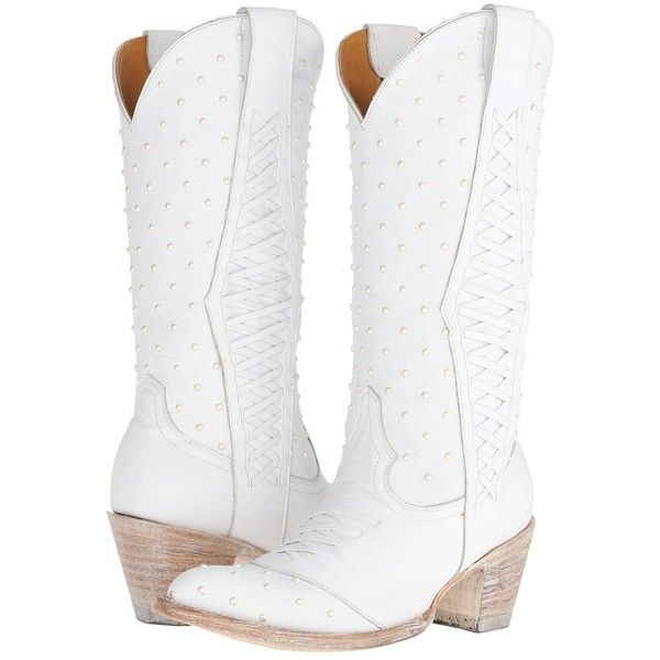 Old Gringo Pearl Bride Women's Boots, White ($540) ❤ liked on Polyvore featuring shoes, boots, mid-calf boots, white, lace up boots, bridal cowboy boots, white boots and vintage cowgirl boots