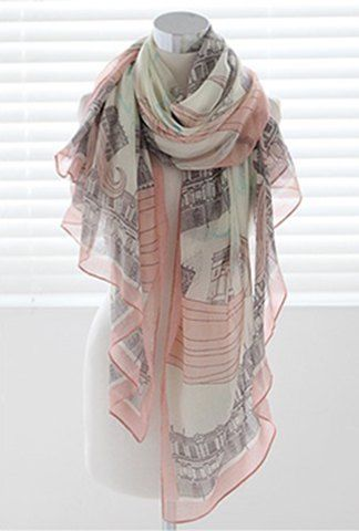 Chic Castle Pattern Embellished Long Scarf For Women