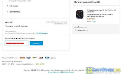 Memasukkan kode voucher belanja Blibli pada laman checkout | SurveiDibayar.com