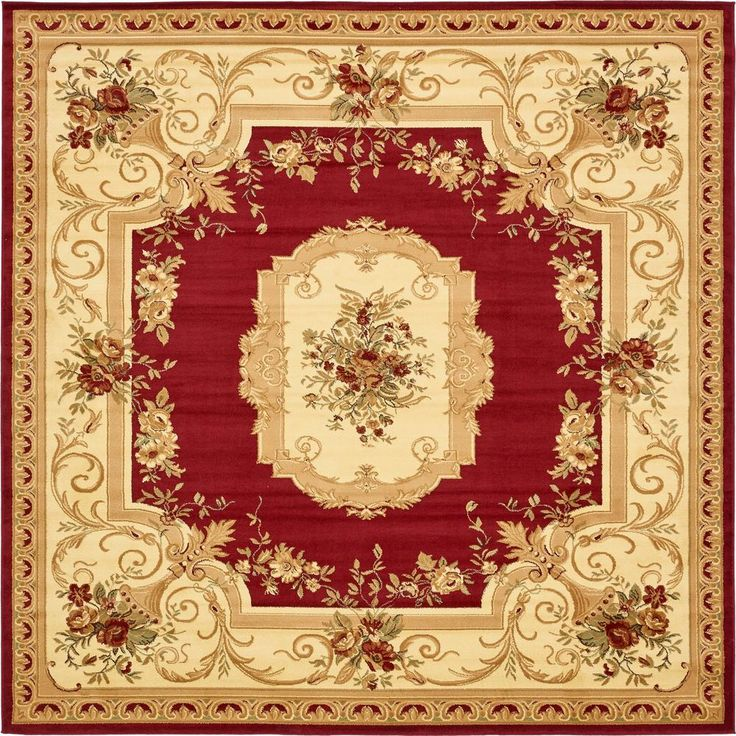 Traditional Versailles Red 10 ft. x 10 ft. Square Rug