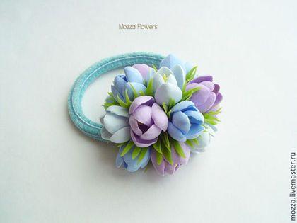 Купить Резинки для волос с букетиками. Цветы из полимерной глины. - резинка для волос, резинка с цветком