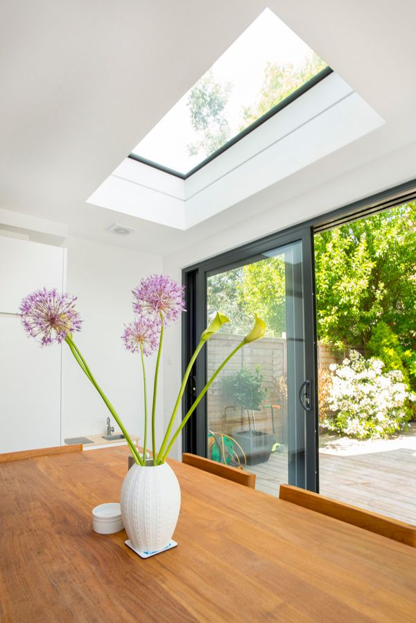 Side Return Extension on a Victorian Terraced House in Highbury, N5, Greater London, Sliding Glass Patio Doors, Velux Roof Light, Flat Roof, Structural Glazed Roof, Wraparound Extension, Kitchen Extension Ideas, Rear Extension