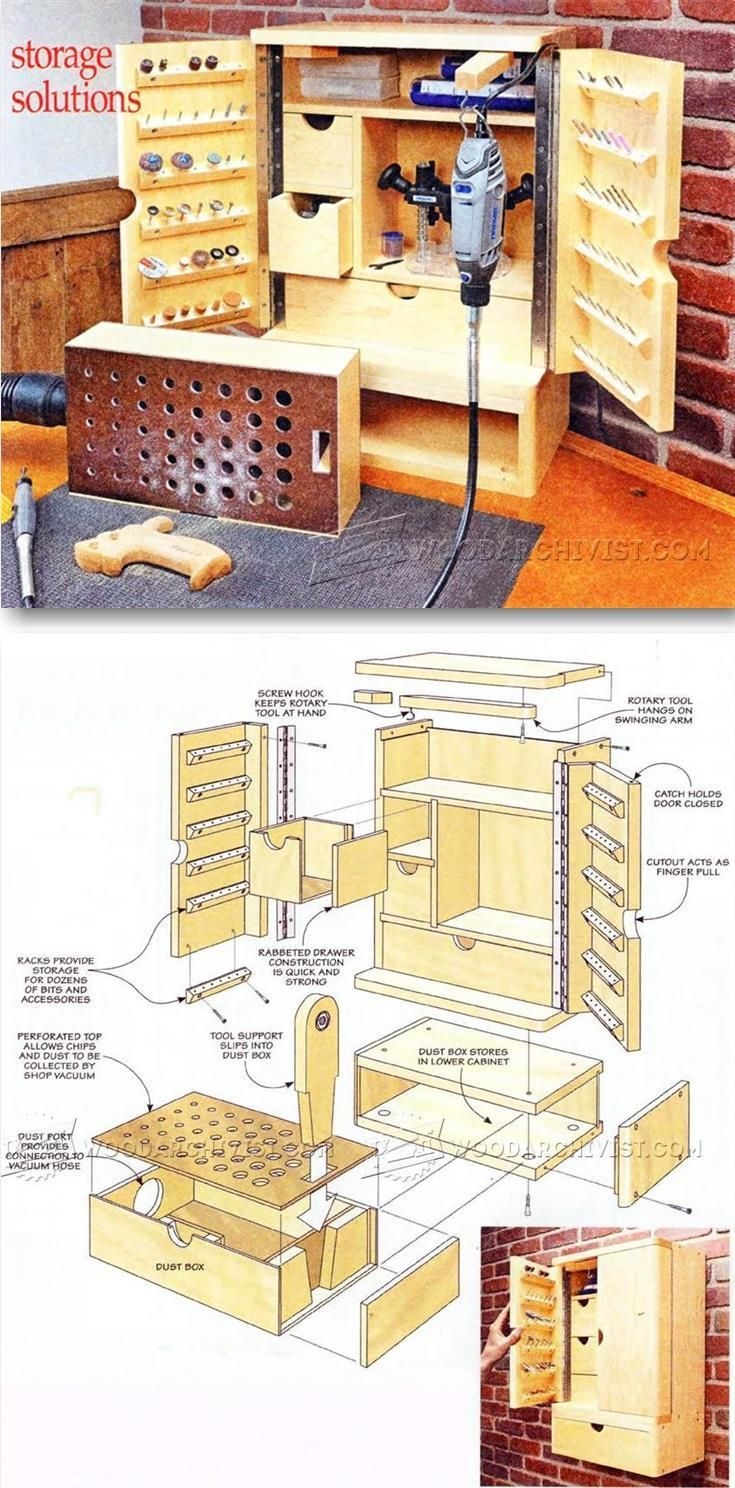 Rotary Tool Cabinet Plans - Workshop Solutions Projects, Tips and Tricks | WoodArchivist.com