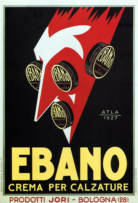 ✔️ vintage Ebano shoe polish advertisement by Giovanni Mingozzi, 1927