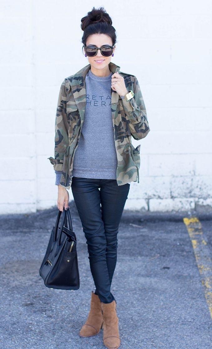 Love this look, but I'd wear a different color jacket...I'm just not a camo kinda girl.