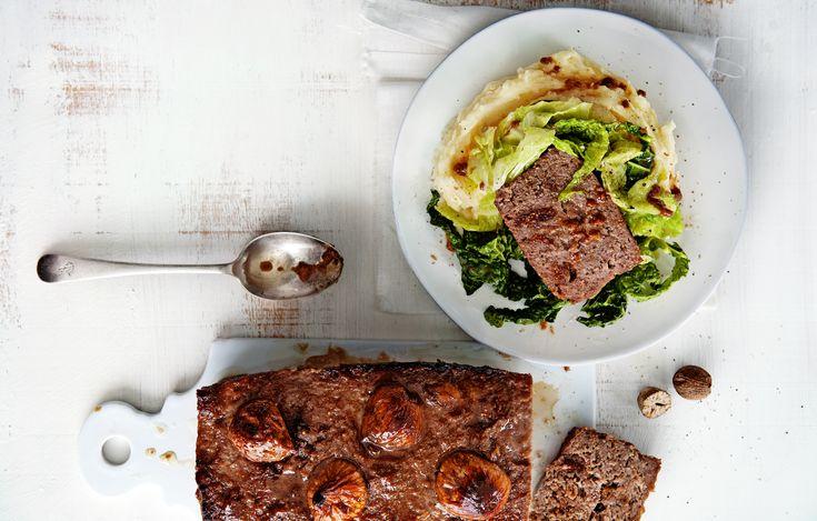 gehaktbrood met vijgen, puree en savooiekool