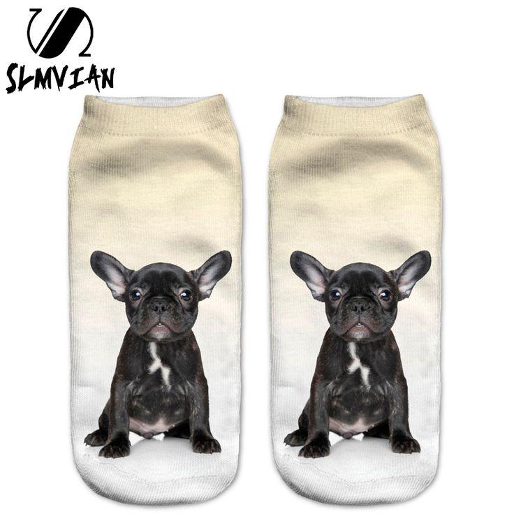 SLMVIAN New Black French BullDog Puppy 3D Print Animal Women Socks Casual cartoon Socks Unisex Low Cut Ankle Socks