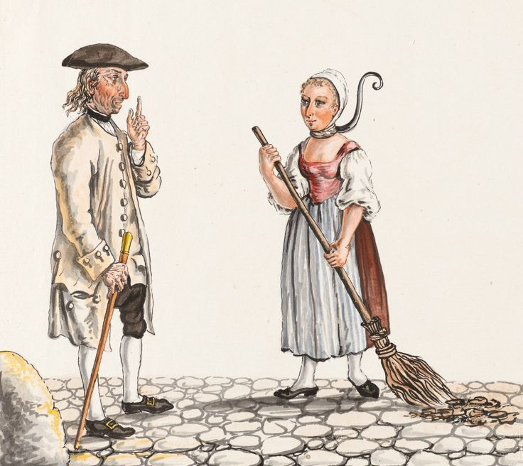 Jailer and Convict by Franz Feyerabend 1790. Detail: Gentleman, walking stick, shoes, man's coat, neck stock, tricorn hat, broom, hair, ladies shoes, jailer, convict. siftingthepast_Jailer and Manure sweeper - Collection Gugelmann _Franz Feyerabend(1755-1800)Franz Feyerabend (1755-1800) from the Swiss National Library