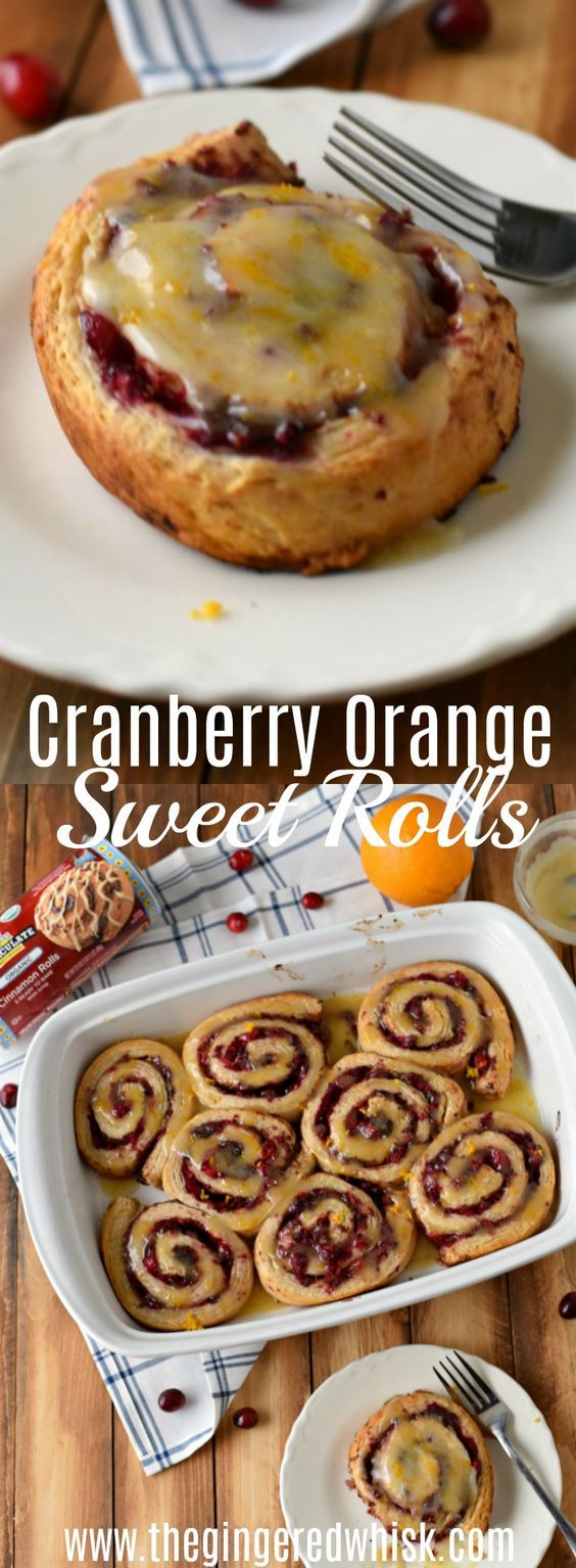 These Cranberry Orange Sweet Rolls are a perfect & easy breakfast! You only need 3 ingredients! #ad @ImmaculateBakes  Thanksgiving Breakfast, Christmas Breakfast Recipe, Cinnamon Roll Hack, Fall Breakfast,  via @GingeredWhisk