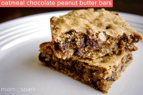 Chocolate Glazed Oatmeal Peanut Butter Bars Recipe — Dishmaps
