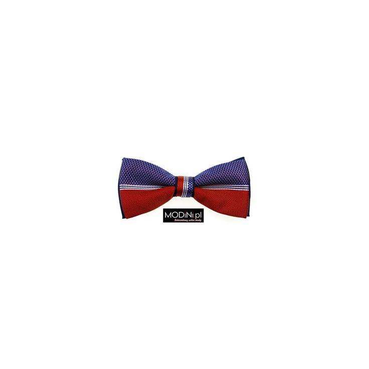 Niebiesko - czerwona mucha z białymi paskami. Poznaj niepowtarzalną kolekcję muszek ze sklepu Modini.pl Najwyższa jakość, super cena, bogactwo wzorów i kolorów.