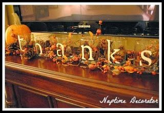 Quick and Simple Thanksgiving Decorating Ideas - she also used these glasses again with the plastic cups and filler I posted in my last pin.