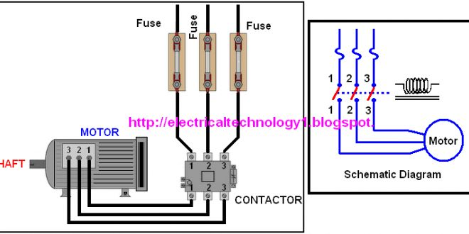 A Simple Circuit Diagram of Contactor with Three Phase Motor