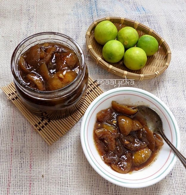 Digestive sweet and sour lemon pickle made with Ayurvedic spices