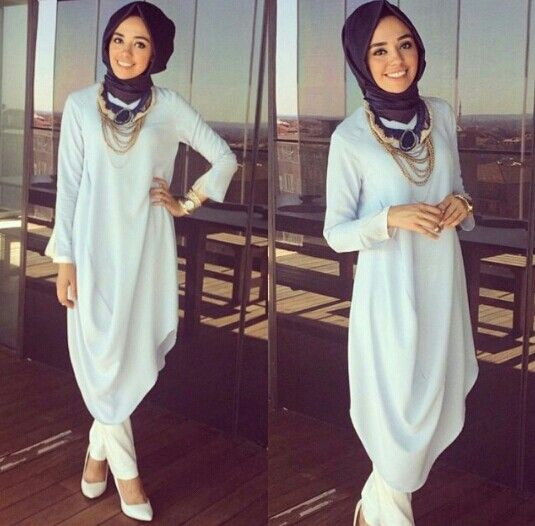 Lovely sky blue tunic dress, gold accessories and a blue #hijab