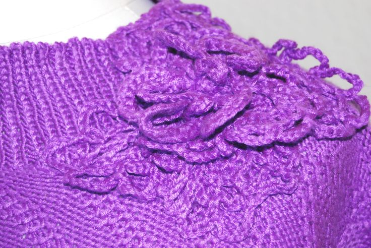PURPLE Knitted Sweater.Knit top.Knit Floral Sweater.Pullover.Hand Knit…