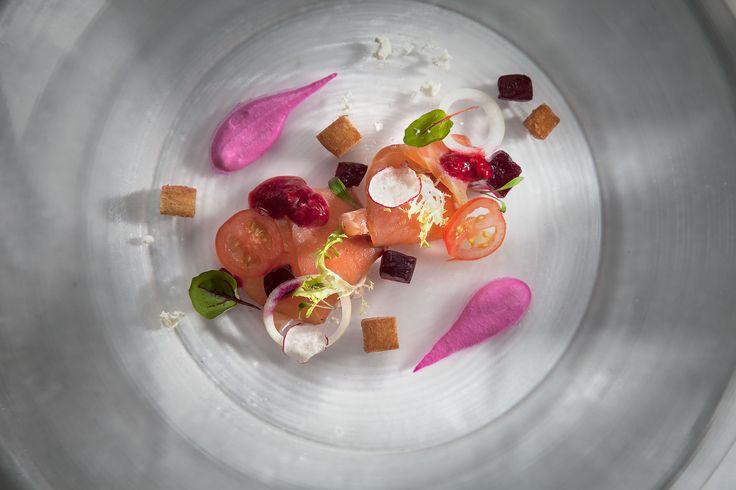 Marinade Salmon Served Raspberry Sauce