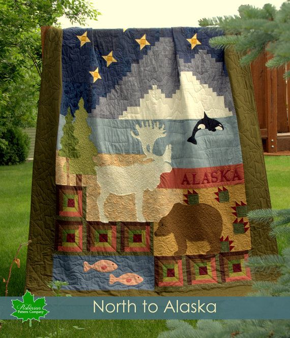 North To Alaska - Alaska Sampler - printed pattern - rugged masculine bear, caribou, orca whale woods and water