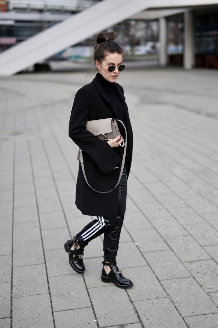 All Black - Adidas Jogginghose und Long Blazer - Shoppisticated