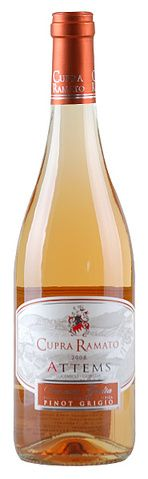In stock - 13,45 € 2008 Attems Cupra Ramato, rose dry , Italy - 86pt Wine of interesting carrot orange colour with copper rim. Aroma is at the beginning nicely fruity, with complex track of yellow apple and wild flowers. Taste is fresh with vivid acid and quiet fruity-spicy character.