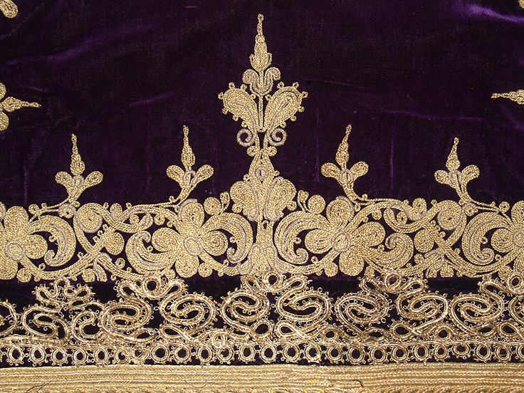 Detail of short jacket (zipouni) of purple velvet with gold thread and foil embroidery. Eleusis, Greece, ca. 1935-1950, KSUM 1983.1.914.