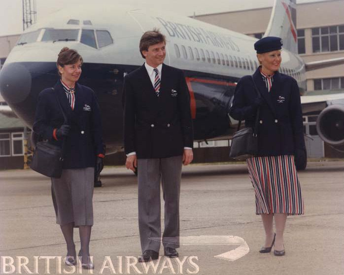 1980s BA cabin crew uniforms - was never a good look