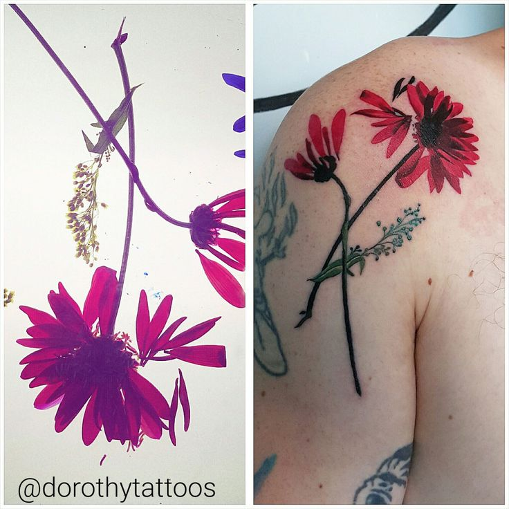 Glass pressed flowers as tattoo design, concept and execution by Dorothy Lyczek. Instagram: @dorothytattoos Website: Dorothytattoo.com Email: Dorothytattoos@gmail.com