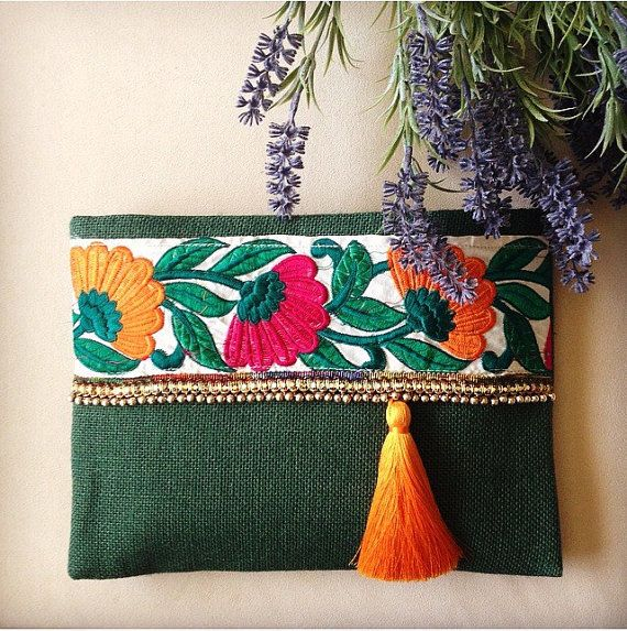 Green Floral Clutch, Bohemian Clutch, Boho Bag, Fashion Bag, Womens handbag…
