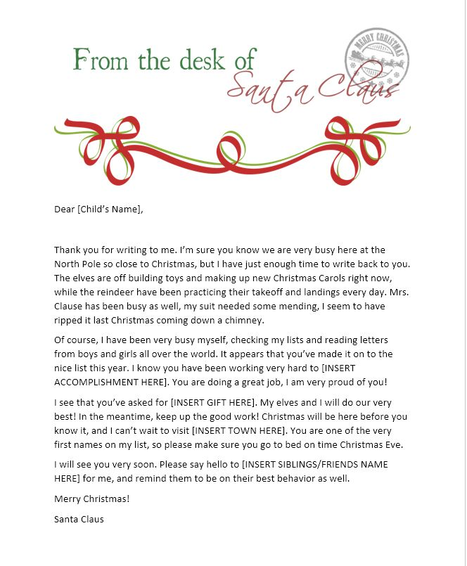 #Free #Printable Letters from #Santa #Christmas #NorthPole